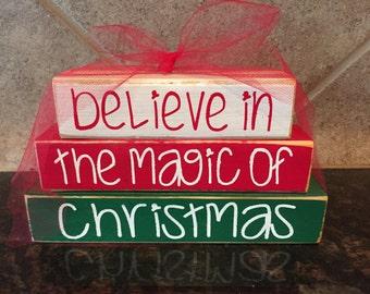 Believe in the Magic of Christmas Christmas Wood Blocks- Mini Stacker