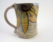 Large Ceramic Coffee Mug - Ceramic Cup - Yellow Sunflower -  Stoneware Coffee Mug - Pottery Mug - 20 ounce Mug - Medium Coffee Mug - Rustic