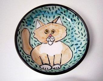 Ceramic Cream and White Cat Pet Feeding Dish Bowl  Clay Pottery Majolica Handmade on Aqua Blue Green