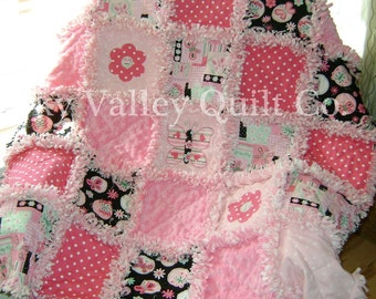 Prefringed cut Rag Quilt KIT -  Butterfly and booms ~Black and pinks