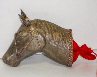 RARE Vintage Dresden Horse Head Candy Container, Christmas