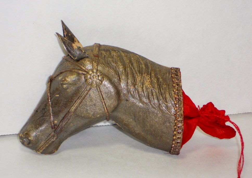Rare vintage dresden horse head candy container christmas