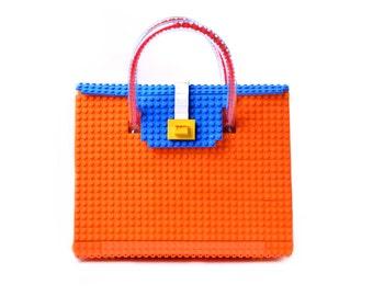 The Big Brick Bag in orange & blue made entirely of LEGO® bricks FREE SHIPPING lego gift handbag trending fashion
