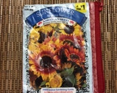 Upcycled Sunflower Evening Sun Seed Packet Coin Purse or Pouch