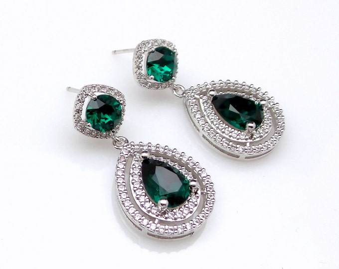 wedding jewelry bridesmaid gift bridal earrings prom pageant christmas Clear white cubic zirconia emerald green crystal teardrop circle post