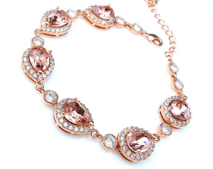 bridal bracelet wedding jewelry bridesmaid gift prom party pageant rose gold teardrop pear swarovski vintage rose blush fancy rhinestone