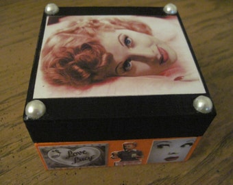 Lucille Ball I love Lucy Small Hand Crafted Decoupaged Wooden Trinket Keepsake Box