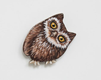 Curious Owl Brooch - Funny Brown Owl Pin - Little Owl Jewelry - Handmade Painted Owl Fashion Accessory - Owl Gift - Cute Baby Owl Pin