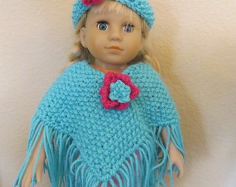 American Girl 18 Inch Doll Teal Poncho and headband set
