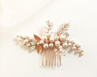 Blush Pearls Bridal Hair Comb | Rose Gold Hair Comb | Hair Vine | Pearl Hair Comb