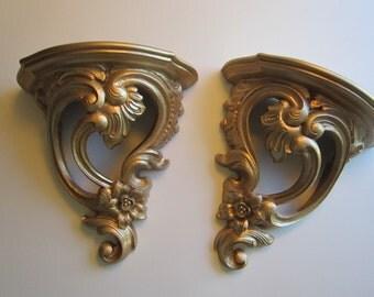 2 vintage plate shelves - SYROCO - rococo, gold finish, ornate, sconce style shelf - 1970