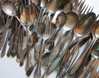 80 vintage flatware - silverplated, assorted patterns - reuse