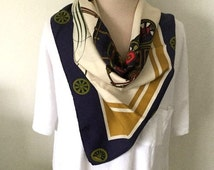 Vintage Gucci Scarf - French Railroad Locomotive Theme. 100% Silk Made in Italy Parisienne Gold and Navy Blue Rare Design Train Theme
