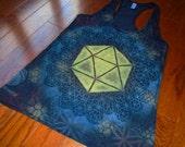 S Icosahedron Flower of Life Racer Back Tank Top Handpainted Sacred Geometry Mandala