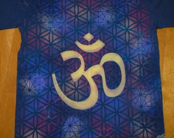 S OM Sacred Geometry T-Shirt Handpainted Organic Tee Tee w/ OM Vibration, Flower of Life, Honeycomb,