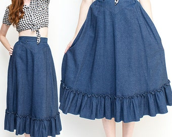 Rockmount Ranch Wear Cowgirl Ruffle Dancing Skirt size S-M