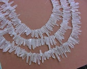 SALE 16 Inch Strand Chunky Quartz Crystal Points Top Drilled, Supply, Beading, Wire Wrapping  15FR88 X