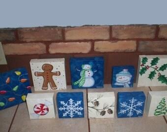 "Christmas Designs Acrylic on Canvas Originals by Lisa Hayward 4"" X 4"""
