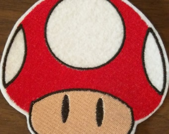 4 inch wide embroidered Mario Brothers inspired power up patch