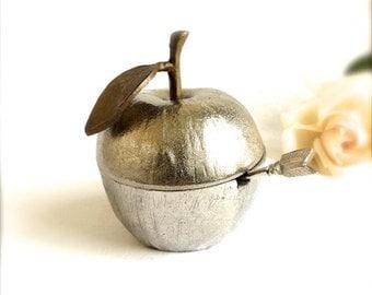 SUMMER SALE Pewter Apple Jam Jar with Enamel interior Sugar pot with spoon
