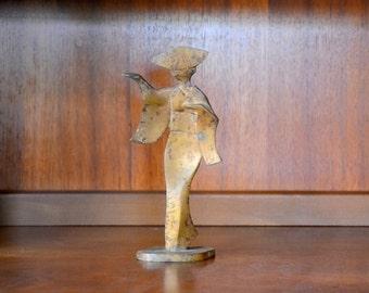 vintage mid-century modern cast metal geisha figurine