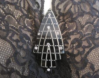 Vintage Black Celluloid Rhinestone Hat Pin Brooch Pin C Clasp Cloche Decoration