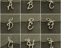 Cursive Initial Charms Sterling Silver-  SALE, A-Z Alphabet Charms, Letters