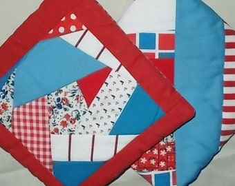 POTHOLDERS (19) Red White Blue String, Crazy Traditional Quilt Pattern, USA Handmade Patriotic, Scrappy, Appalachian Made,