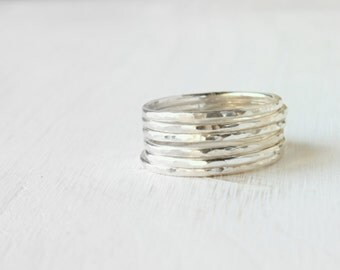 GET 1 FREE WITH Six Stacking silver rings / hammered stacking rings in shiny silver / simple silver skinny stacking rings modern Handmade