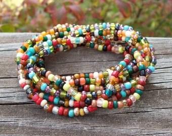 Stretch Stack Beaded Festival Bracelets, Colorful Autumn beaded bracelets, Boho, Hippie, Gypsy - 9 Stack bracelet set