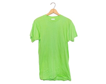 Vintage 70's Blank Lime Green Crewneck Fruit Of the Loom T-Shirt Made in USA - Large (OS-TS-13)
