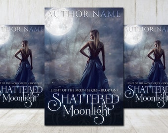 """Premade Digital eBook Book Cover Design """"Shattered Moonlight"""" Indigo Young Adult Paranormal Romance Fantasy Girl in Gown"""