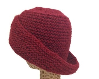 Red Hat Hand Knit Hat Wool Hat Wool Cloche Wide Brim Hat Knit Cloche Red Knit Tam Mohair Knit Hat One Size Hat Woman's Knit Hat