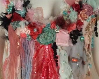 Slip Dress Flapper Style Rebecca Art to Wear Pastel Garden Inspired Art to Wear