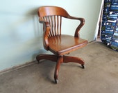 VINTAGE Wood Barrister Desk Chair (Los Angeles)