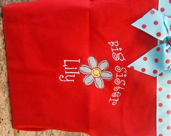 Red big sister tote bag- embroidered with cute blue flower- Personalized at NO additional charge