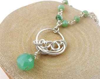 Chrysoprase necklace, wire wrapped jewelry, gemstone small pendant, sterling silver jewelry