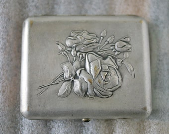 Cigarette Case Business Card Holder roses  Silver Plated Brass 1950s from Soviet Union USSR