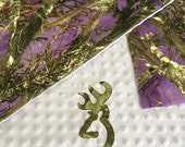 Real Tree Mossy Oak Camo Purple or pink personalized Baby girl blanket