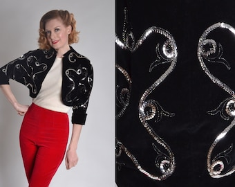 Vintage 1950s Black Velvet Jacket - Silver Sequin Matador Bolero - Edith Phillips Fashions