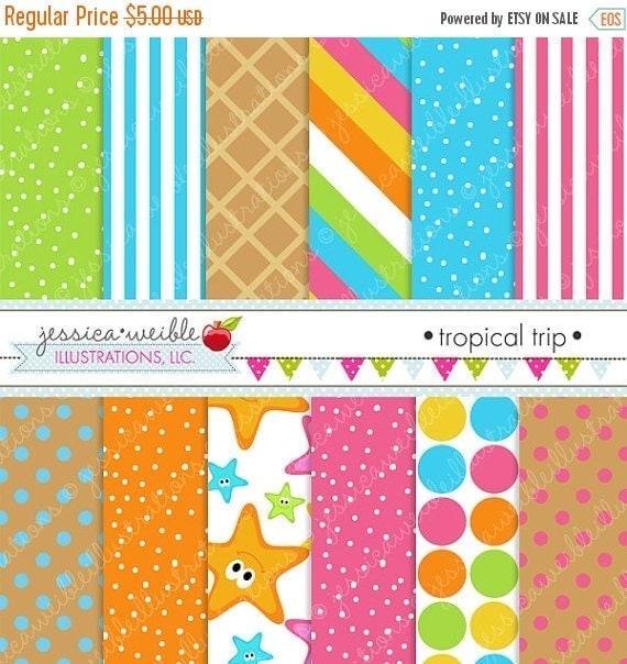 ON SALE Tropical Trip Cute Digital Papers for Commercial or Personal Use, Summer Patterns, Summer Papers