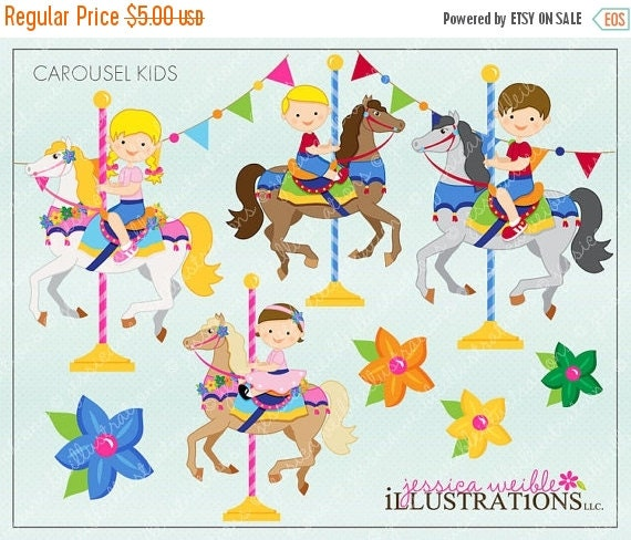 ON SALE Carousel Kids Cute Digital Clipart for Invitations, Card Design, Scrapbooking, and Web Design, Carousel Clipart
