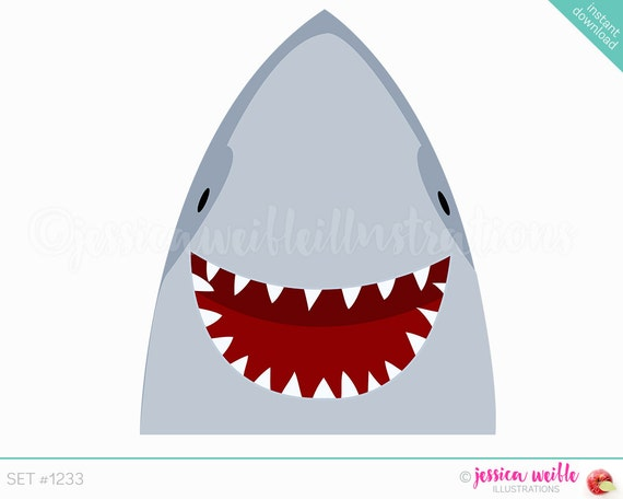 Instant Download Happy Shark Cute Digital Clipart Smiling Clip Art Graphics Illustration 1233 From JWIllustrations On Etsy
