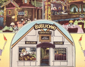 Bublichki Russian Cafe Postcard, Vintage Card from Sunset Blvd, Hollywood, California Restaurant