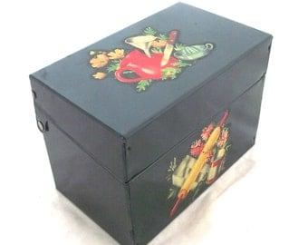 Vintage Recipe File Box, Hunter Green Tin with Vintage Kitchen Appliques (C1)