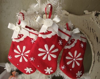 christmas stockings red and white embroidered felt stocking ornament fabric home decor Cottage Chic ornaments