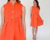 60s Orange Mini Dress | Mod Sleeveless Pleated Cotton Summer Dress | Medium