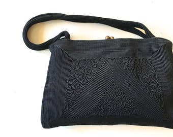 Corde Bag 40s Black Corde Purse   Evening Bag Clutch