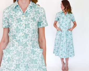 40s Floral Cotton Dress | White Green Floral Print Day Dress | Small