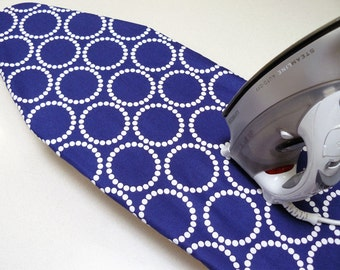 Ironing Board Cover TABLE TOP - navy  blue with white dots
